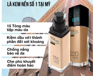 Kem Nền - Fit Me Maybelline New York Matte Poreless Foundation SPF 22